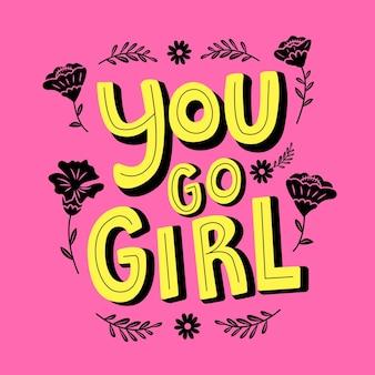 Idziesz dziewczyna typografia