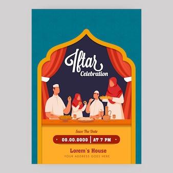 Iftar celebration flyer with muzułmańskiej rodziny cieszącej się jedzeniem i szczegółami wydarzeń.
