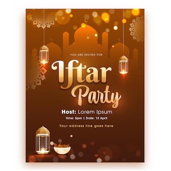 Iftar party flyer z wiszącymi zapalonymi lampionami i misą dat na brązowy meczet