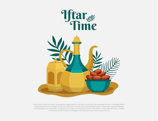 Iftar time kartkę z życzeniami z tradycyjną żywnością