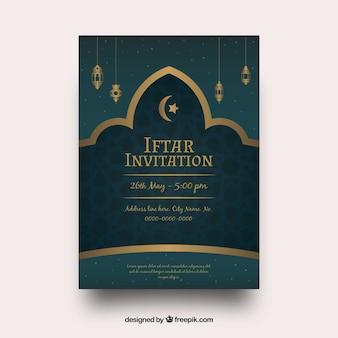 Iftar zaproszenie na przyjęcie ze złotymi ornamentami