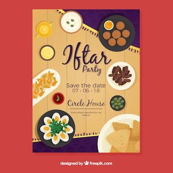 Iftar zaproszenie z jedzeniem i herbatą w stylu płaskiej