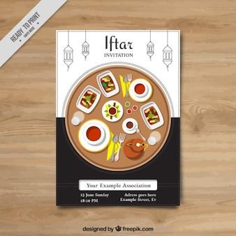 Iftar zaproszenie z pysznym jedzeniem