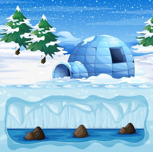 Igloo na zimnym biegunie północnym