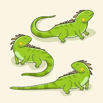 Iguana cartoon cute lizard animal reptile set