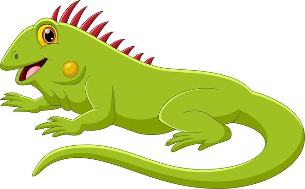 Iguana Kreskówka ładny Pozowanie I Uśmiechnięty Premium Wektorów