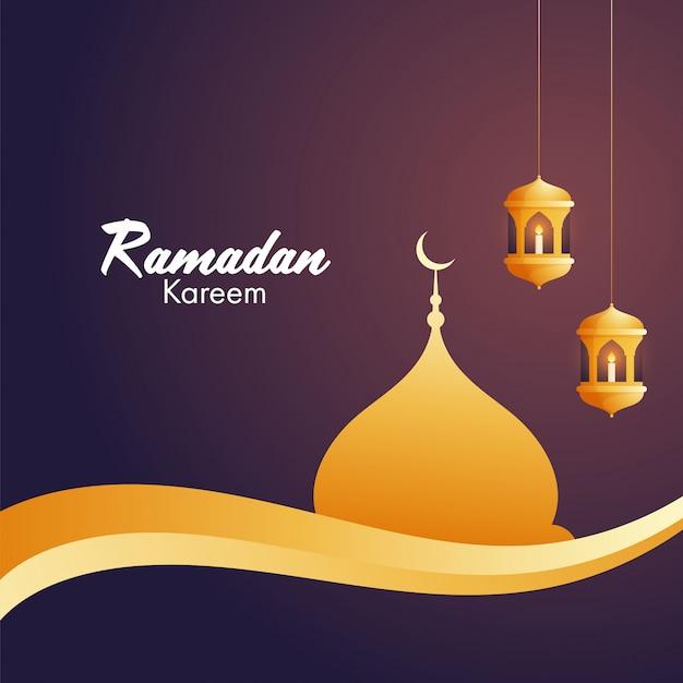 Iituje świece w arabskich złotych lampionach i złoty meczet dla islamskiego świętego miesiąca modlitw, okazji ramadan kareem.