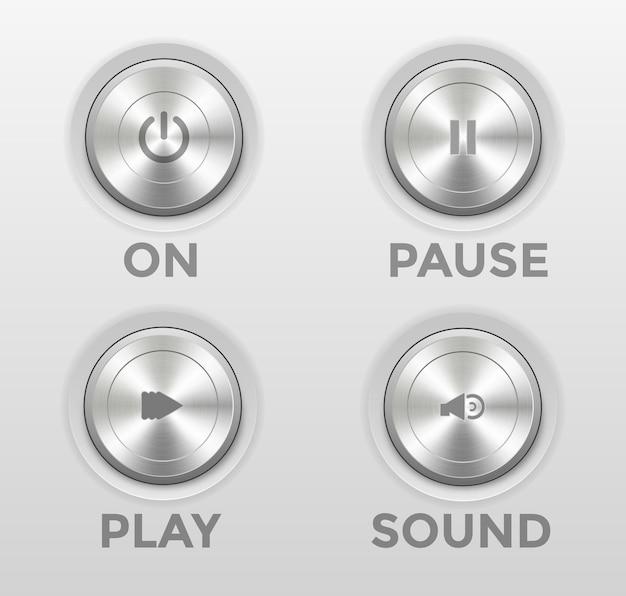 Ikona 3d przycisk zasilania odtwarzanie pauza dźwięk wyciszenie słuchawki