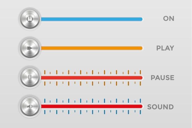 Ikona 3d przycisk zasilania odtwarzanie pauza wyciszenie dźwięku z linią głośności