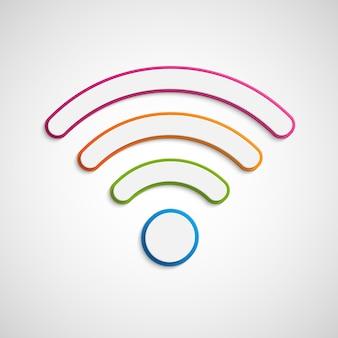 Ikona 3d wifi. znak sygnału bezprzewodowego.
