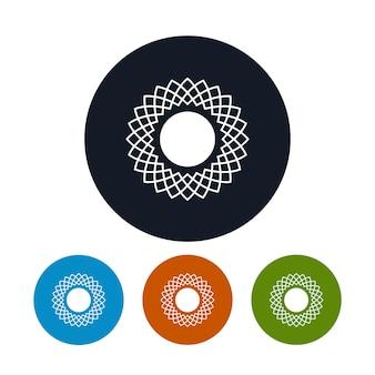 Ikona abstrac słońce, cztery rodzaje kolorowych okrągłych ikon słońca, ilustracji wektorowych