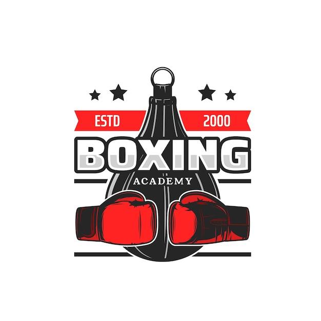 Ikona akademii bokserskiej, rękawiczki i worek treningowy