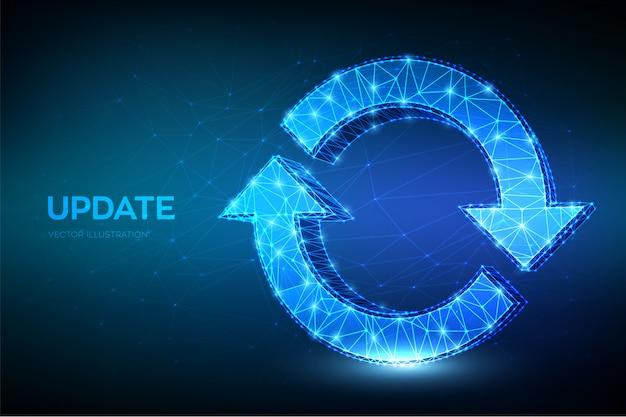 Ikona aktualizacji lub synchronizacji. niska wielokąta streszczenie aktualizacja lub znak synchronizacji. koncepcja przetwarzania.