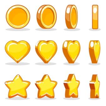 Ikona animacji turowej serca, monety i gwiazdy