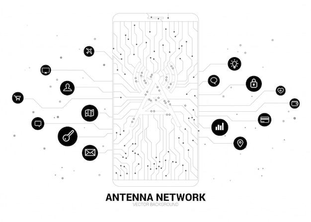 Ikona anteny wieży wektor na telefon komórkowy z kropki połączyć linii obwodów danych mobilnych stylu