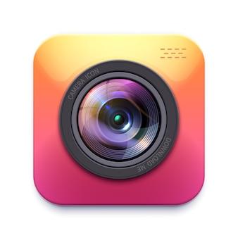 Ikona aparatu fotograficznego lub kamery, izolowany element projektu sprzęt fotografa