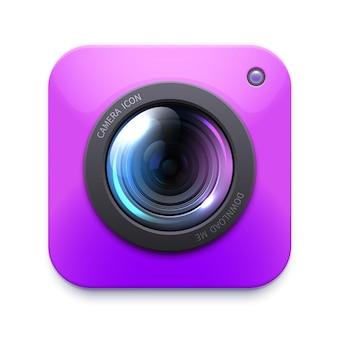 Ikona aparatu fotograficznego lub kamery wideo, izolowany zoom wektorowy, migawka, aparat fotograficzny.
