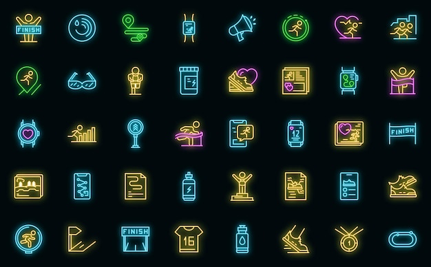Ikona aplikacji biegacz. zarys biegacz wektor ikona neon kolor na czarno