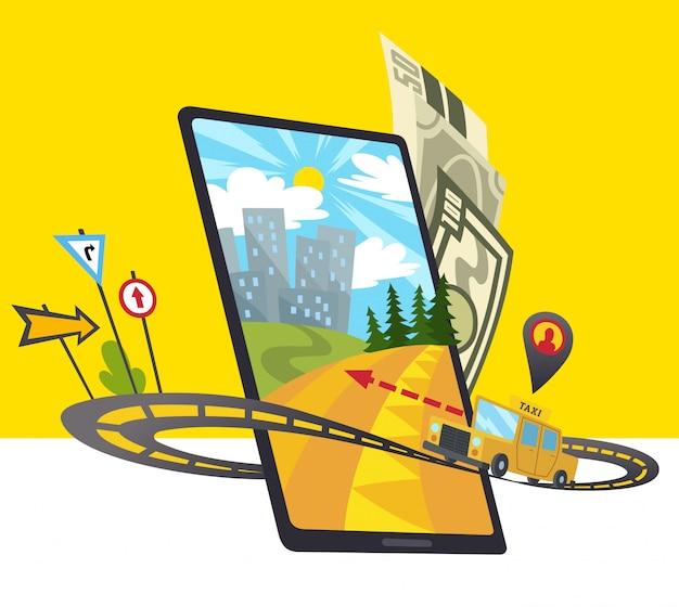 Ikona aplikacji mobilnej taxi zawiera smartfon