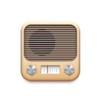 Ikona aplikacji muzyki retro radia fm ze starych przycisków stacji radiowej, wektor. ikona aplikacji tunera radia fm w stylu vintage z pokrętłami odbiornika i głośnikiem, kanałem podcastów i aplikacją odtwarzacza strumieniowego audio