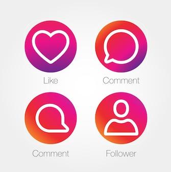 Ikona aplikacji szablon gradientu świeży zestaw kolorów