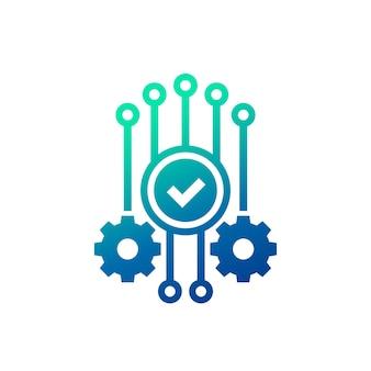 Ikona automatyzacji i optymalizacji ze znacznikiem wyboru i kołami zębatymi