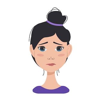 Ikona awatarów mimiki azjatyckiej kobiety o ciemnych włosach. różne kobiece emocje. atrakcyjna postać z kreskówki. ilustracja wektorowa