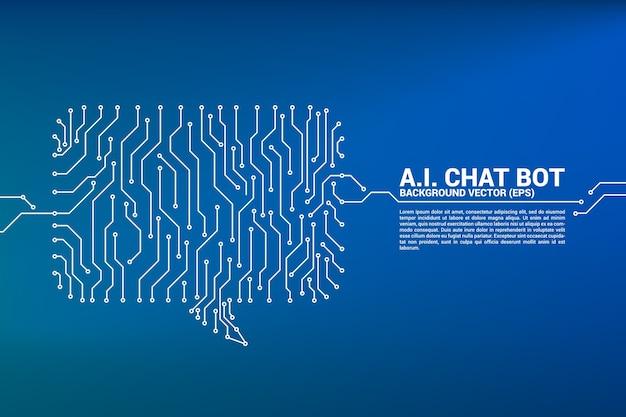 Ikona bąbelkowej rozmowy z połączeniami kropkowymi i liniowymi z grafiką w stylu płytki drukowanej