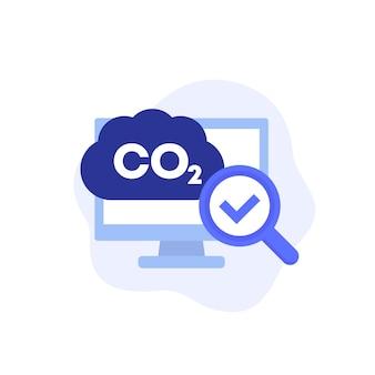 Ikona badań emisji dwutlenku węgla, wektor