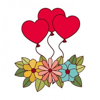 Ikona balony w kształcie serca na białym tle