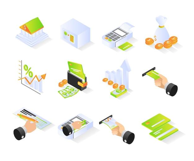 Ikona bankowości z pakietem w stylu izometrycznym lub zestawami nowoczesnych wektorów premium