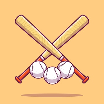 Ikona baseballu. kije baseballowe i piłka, ikona sportu na białym tle