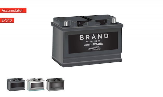 Ikona baterii samochodu samodzielnie na białym tle.