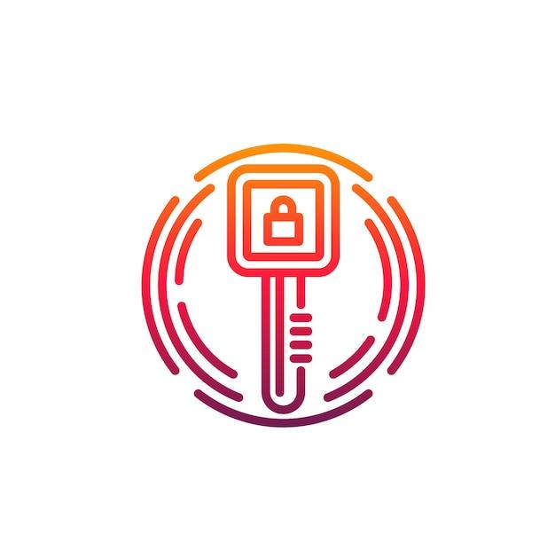 Ikona bezpieczeństwa cybernetycznego, cyfrowy klucz dostępu, kłódka