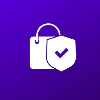 Ikona bezpiecznych zakupów z torbą i tarczą