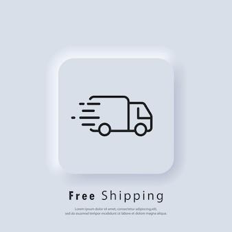 Ikona bezpłatnej wysyłki. darmowa dostawa. odznaka z ciężarówką. wektor. ikona interfejsu użytkownika. biały przycisk sieciowy interfejsu użytkownika neumorphic ui ux. neumorfizm