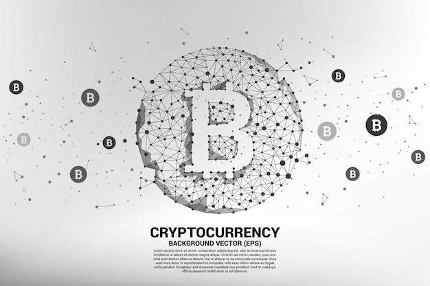 Ikona bitcoin wektor z linii kropka polygon.