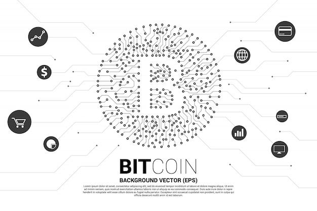 Ikona bitcoin z płytki drukowanej styl kropka połączyć linię