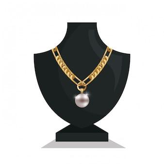 Ikona biżuteria naszyjnik manekiny na białym tle
