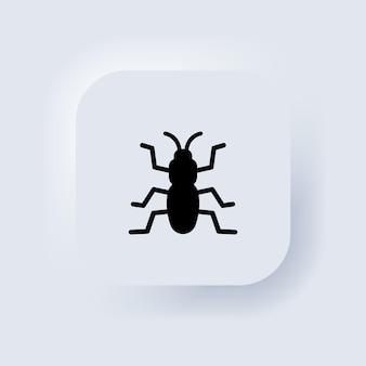 Ikona błędu w kolorze czarnym. owad. pasożyt, mrówka, karaluch. biały przycisk sieciowy interfejsu użytkownika neumorphic ui ux. neumorfizm. wektor eps 10.