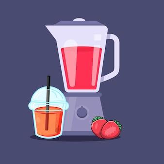 Ikona blendera z plastikowym kubkiem z sokiem truskawkowym