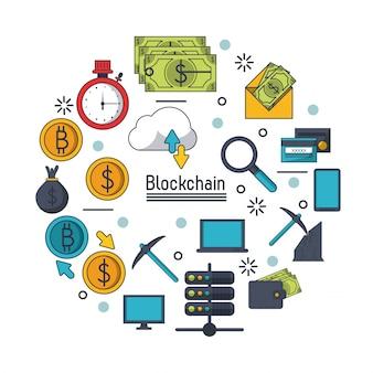 Ikona blockchain i bitcoin
