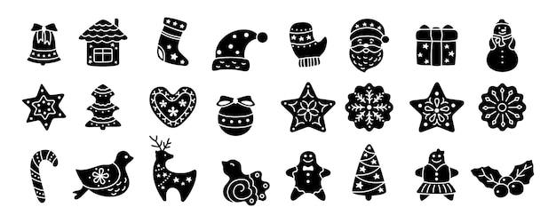 Ikona bożego narodzenia, czarny glif. zestaw płaski kreskówka. sylwetka znak nowy rok, kolekcja ikony ptak, ostrokrzew, dom, jeleń i słodycze, płatki śniegu, skarpety, gwiazda choinki dzwon. ilustracja na białym tle