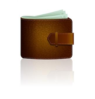 Ikona brązowy skórzany portfel z banknotów na białym tle