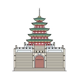 Ikona budynku słynnej południowokoreańskiej pagody w stylu szkicu, ilustracja kreskówka wektor na białym tle. zabytki i atrakcje turystyczne świata.