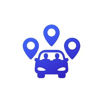 Ikona carpool z samochodem i pasażerami