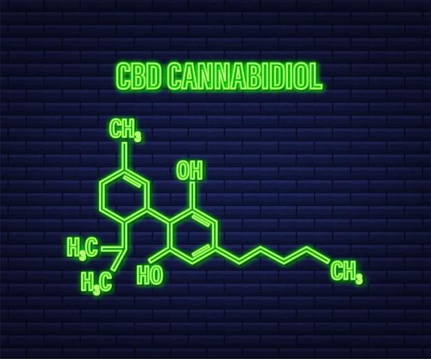 Ikona cbd. cząsteczka leku z konopi cbd, konopie indyjskie. neonowa ikona