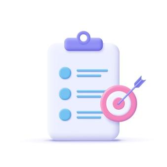 Ikona celu przypisania. schowek, symbol listy kontrolnej. ilustracja wektorowa 3d.