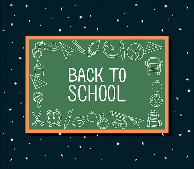 Ikona chalck ustawiona na projekcie zielonej tablicy, temat lekcji z powrotem do szkoły