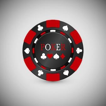 Ikona chip w kasynie czarno-czerwony. casino chip